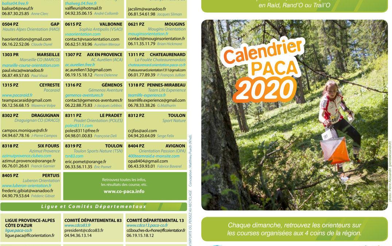 Calendrier Course d'Orientation PACA 2020
